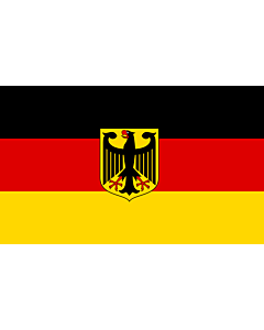 Flag: Germany  unoff | State flag with coat of arms instead of  federal shield   unofficial variant
