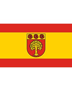 Flag: Selm | Beschreibung der Flagge  Die Flagge ist von Rot zu Gelb zu Rot im Verhältnis 1 3 1 längsgestreift mit dem Wappenschild der Stadt in der Mitte
