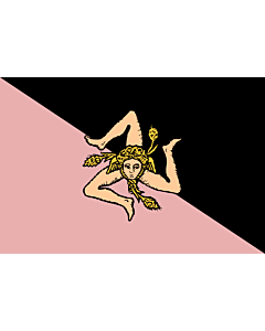 Flag: Sicily  pink and black | Sicilian flag - Pink and black version  featuring US Città di Palermo colours