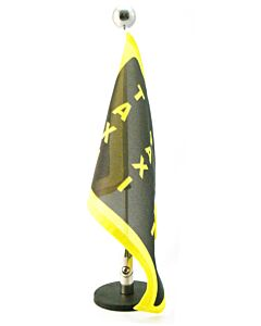 Magnetic Car Flag Pole Diplomat-1.30-Chrome with customized printed flag (right side)